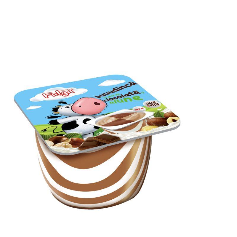 Fulga chocolate and hazelnut flavoured milk pudding dessert with calcium and vitamin D