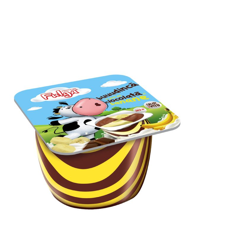 Fulga chocolate and banana flavoured milk pudding dessert with calcium and vitamin D