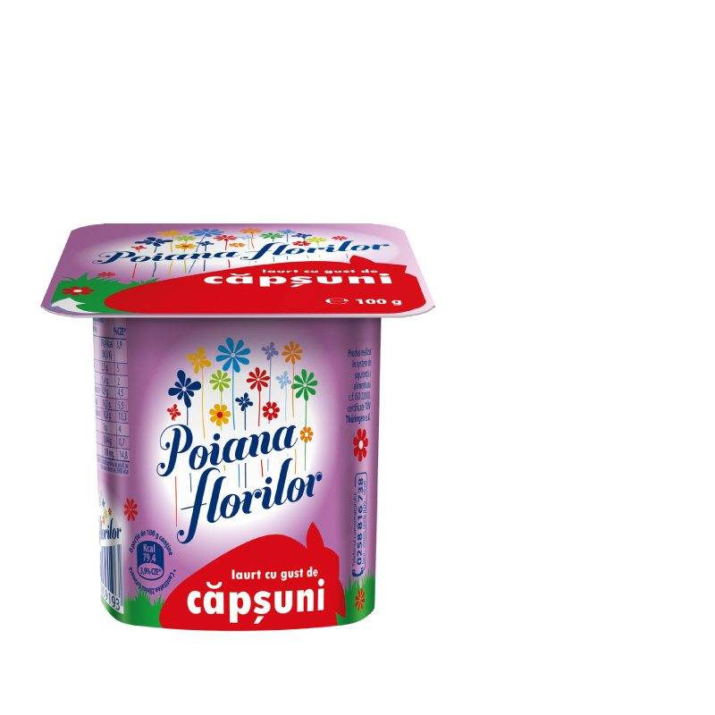 Poiana Florilor strawberry flavoured yoghurt