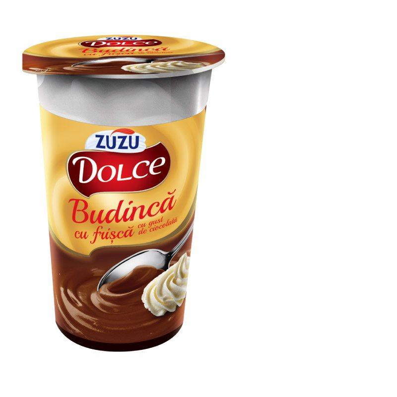 Zuzu Dolce chocolate flavoured milk pudding with whipped cream