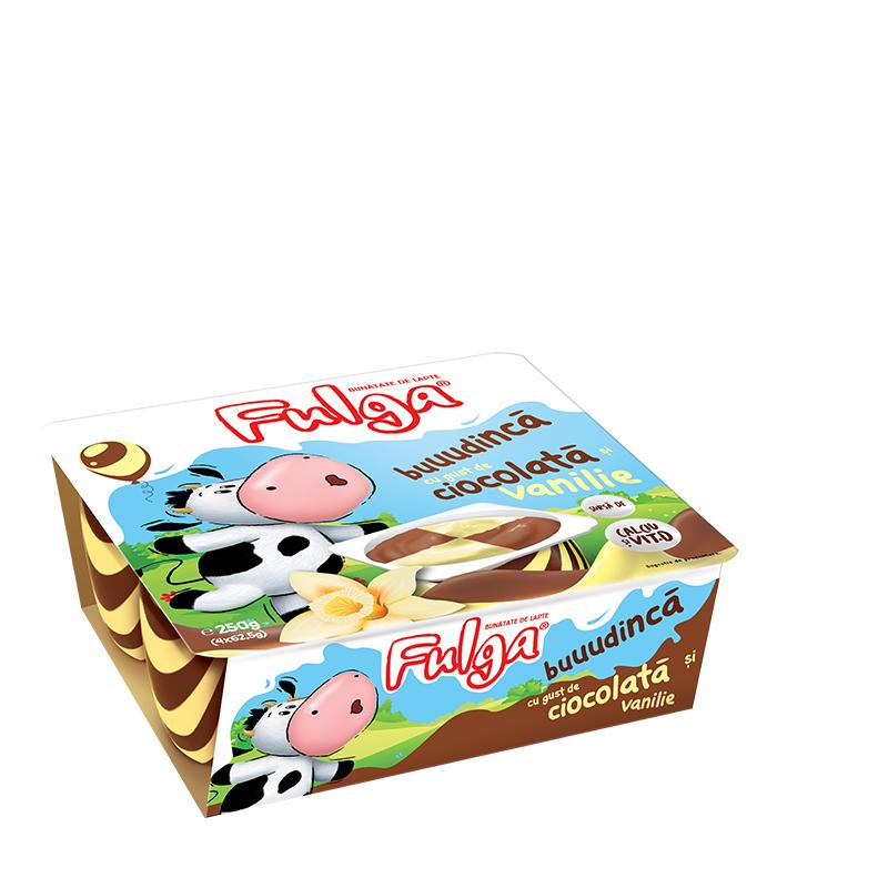Fulga chocolate and vanilla flavored milk pudding dessert with calcium and vitamin D