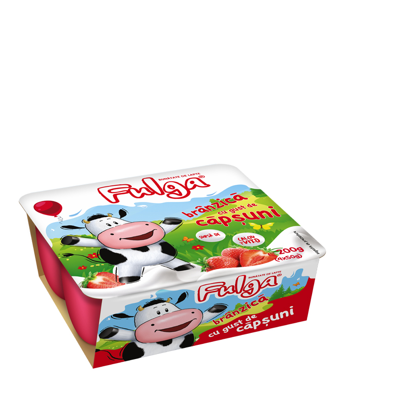 Fulga fresh cow's cheese with strawberry flavor, with calcium and vitamin D