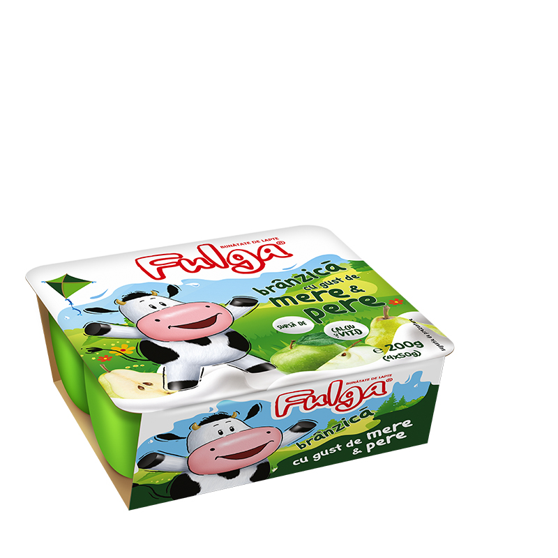 Fulga fresh cow's cheese with apple and pear flavor, with calcium and vitamin D