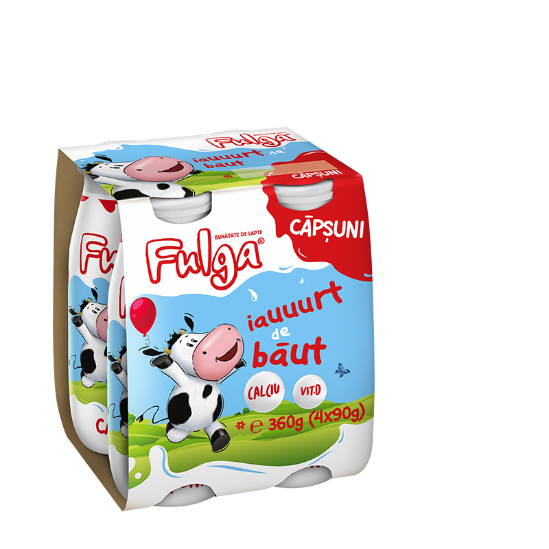 Fulga drinking yoghurt with strawberry flavor, with calcium and vitamin D