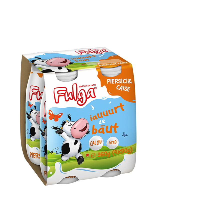 Fulga drinking yoghurt with peach and apricot flavor, with calcium and vitamin D